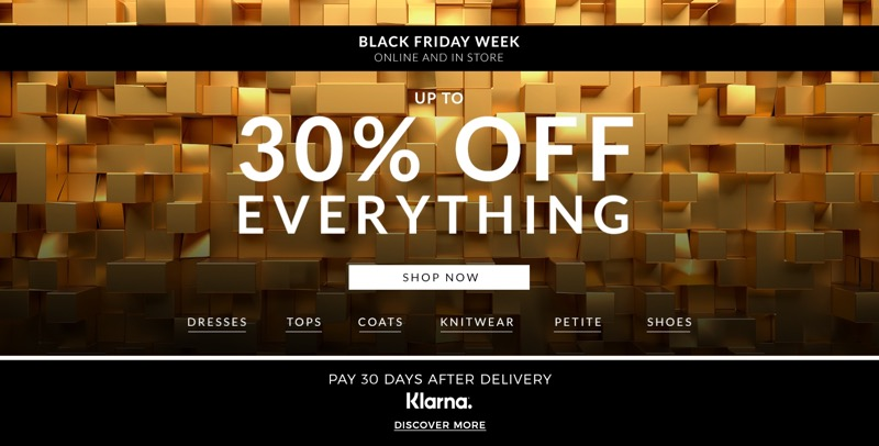 Wallis Black Friday Week Wallis: up to 30% off everything