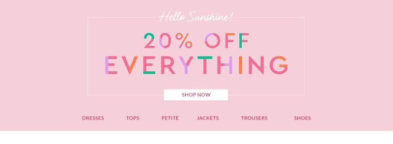Wallis Wallis: 20% off women's clothing