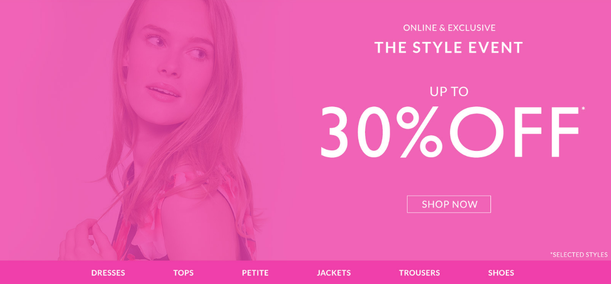 Wallis Wallis: up to 30% off dresses, tops, petite, jackets, trousers, shoes