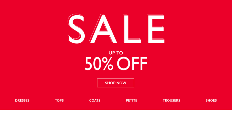 Wallis: up to 50% off ladies clothes