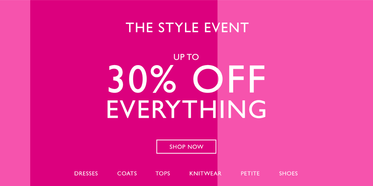 Wallis: up to 30% off dresses, coats, tops, knitwear, petite and shoes