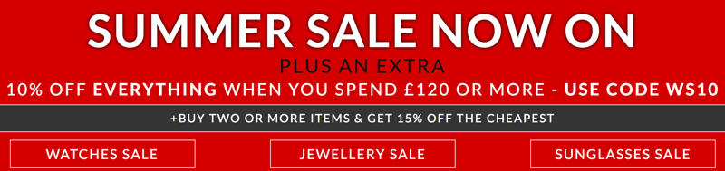 Watch Shop Watch Shop: plus na extra 10% off watches, jewellery and sunglasses