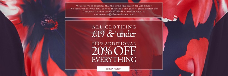 Windsmoor Windsmoor: all clothing £19 & under plus additional 20% everything