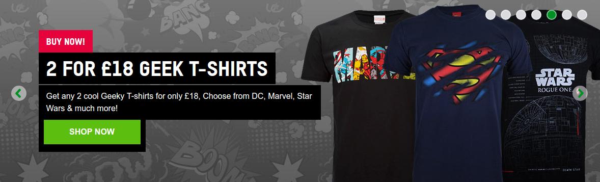 Zavvi: 2 Geek DC, Marvel, Star Wars & other T-Shirts for £18