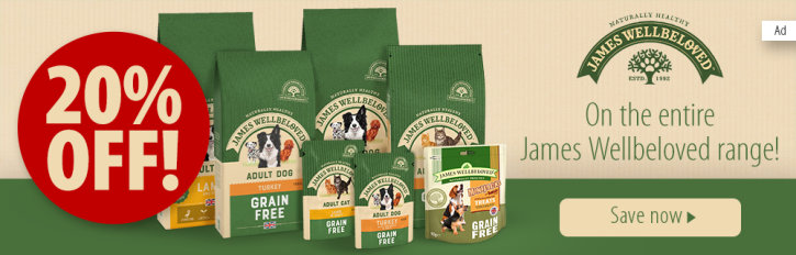 Zooplus: 20% off James Wellbeloved Wet & Dry Dog Food and Wet & Dry Cat Food