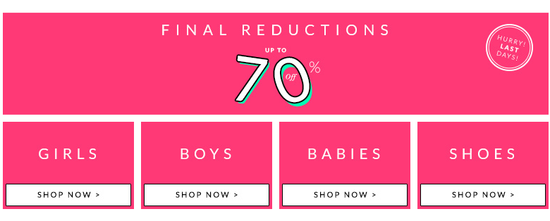 AlexandAlexa: Sale up to 70% off off for girls, boys, babies clothes and shoes