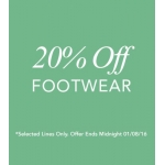 Fifty Plus: 20% off selected lines of footwear