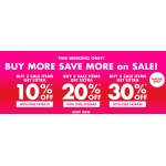 Forever 21: Buy 3, 4, 5 items, get extra 10%, 20%, 30% off