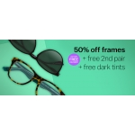 Glasses Direct: 50% off frames + free 2nd pair + free dark tints
