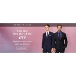 Moss Bros: suit plus free shirt & tie for £99