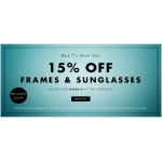 Eye Wear Brands: 15%  off frames and sunglasses